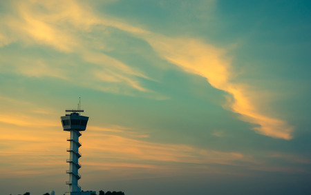 Air Traffic Control tower Sunset Sky, vintage color style Stock Photo