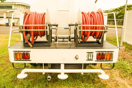 antique fire truck: truck water taps and gauges Wash provincial capital, vintage color style Stock Photo