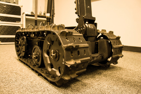 Search and rescue robot unit with tracks, vintage color style