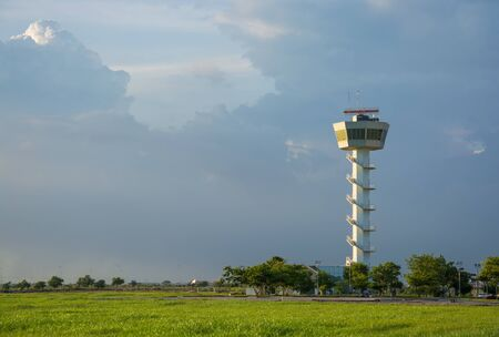 control tower: Air Traffic Control tower Sunset Sky