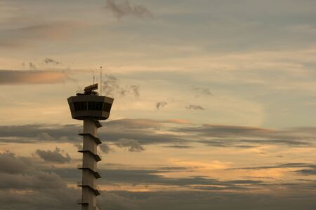 traffic control: Air Traffic Control tower Sunset Sky