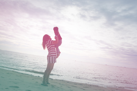 color effect: Mom Holding Baby at Beach, color effect
