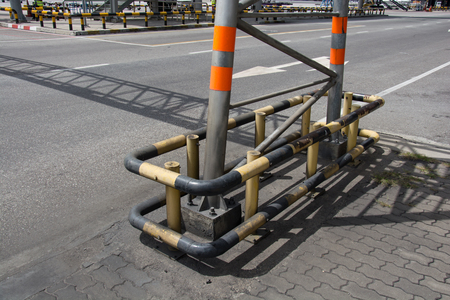 struts: Steel column support with bolts and nuts. Stock Photo