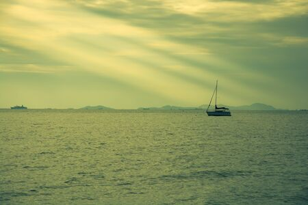 color effect: Boat in sunset, color effect