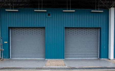 rolling garage door: corrugated metal sheet