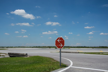 traffic sign in Airport runway Stock Photo