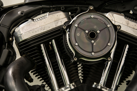 engine motorcycle, motorcycle engine close-up detail background Stock Photo