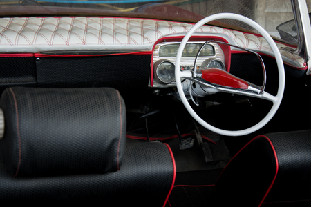 Interior of classic vintage car