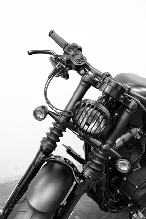 vintage Motorcycle detail on the road Imagens