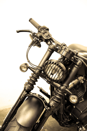 vintage Motorcycle detail on the road,vintage tone Imagens