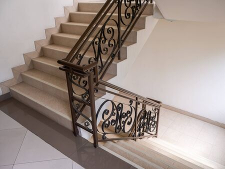 The Marble staircase with stairs in luxury hall