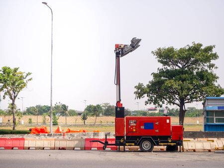 diesel electric generator and light outdoor on road Standard-Bild