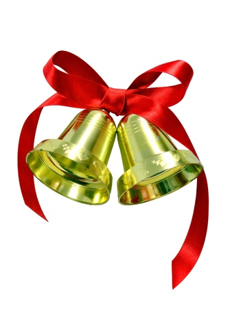 Golden Christmas bells with red silk bow  Stock Photo