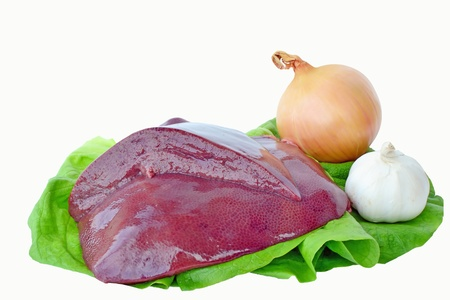 Fresh pork liver with onion and garlic on a lettuce leaf against a white background Stock Photo - 17992049