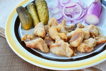 greaves: Fried pieces of pork greaves with red torpedo onions and pickles. Stock Photo