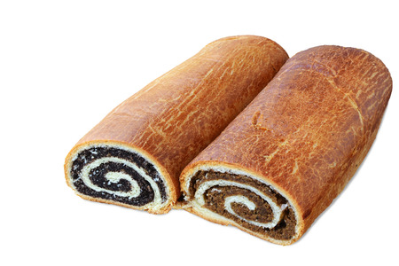 Hungarian poppy seed and walnut rolls isolated on white