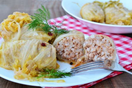 Pickled cabbage leaves stuffed with minced meat and rice.
