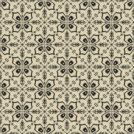 clack: Abstract black floral pattern on beige tectured seamless background.