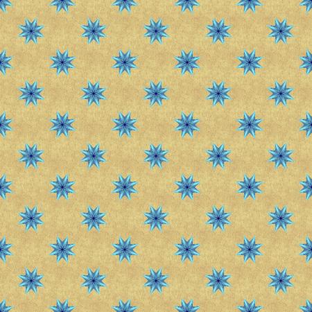 yellow ochre: Bright neon blue seamless star pattern on yellow ochre textured background.