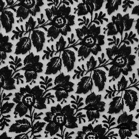 Black lace fabric texture with floral design.