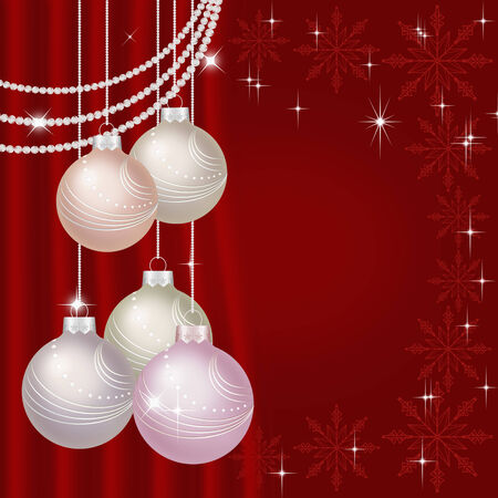 Red Christmas background with shiny Christmas baubles, stars, snowflakes. photo