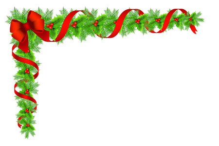 Decorative border with Christmas holly, fir branches ribbons and bow on white background.