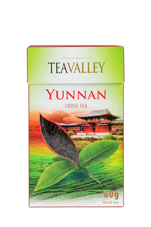 loose leaf: CLUJ-NAPOCA, ROMANIA - JANUARY 2015: Premium loose leaf Yunnan tea is a high end gourmet black tea from Chinas Yunnan Province, the birthplace of tea. Teavalley branded product.