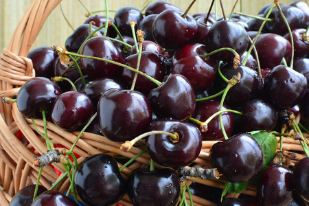 Closeup of ripe cherries in a basket. Фото со стока