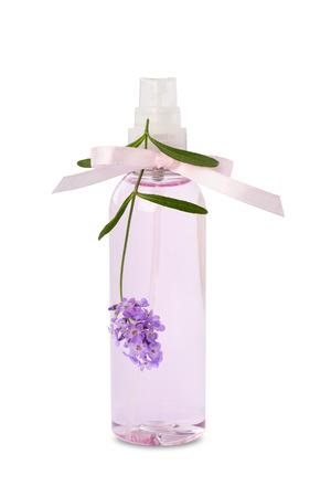 Lavender water  hydrosol spray bottle isolated on white background. Stockfoto