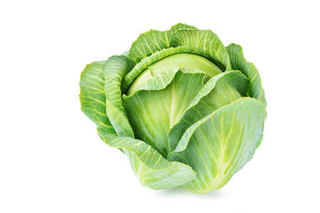 Fresh green cabbage isolated on white background. Standard-Bild