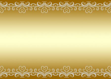 swirly: Golden background seamless border with swirly vintage pattern.
