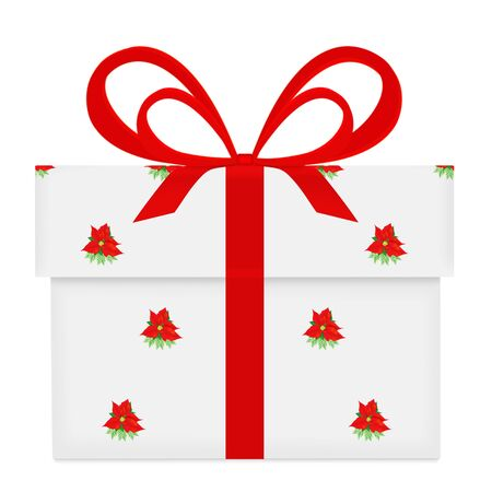 gift wrapped: White gift box with red bow and ribbon poinsettia pattern wrapped isolated on white background. Stock Photo