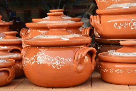 crock pot: Clay crock pot earthenware pottery at the market