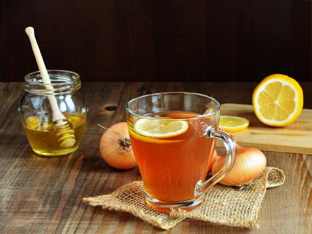 Onion honey lemon tea for colds and cough