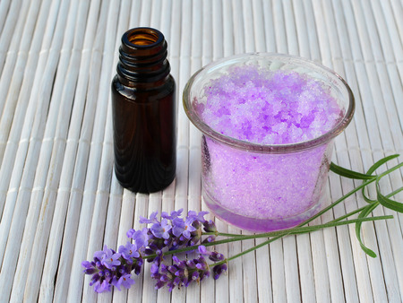 calming: Lavender sugar scrub with essential oil, calming homemade skin care.