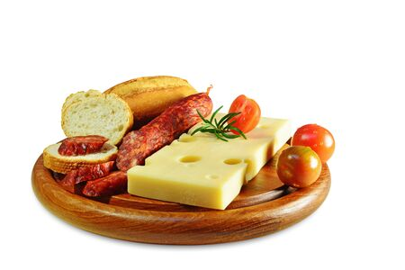 emmental: Emmental cheese and chorizo pork sausage on wooden board isolated. Stock Photo