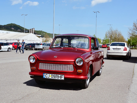 former years: CLUJ-NAPOCA, ROMANIA - APRIL 16, 2016: Old Trabant 601 car, produced in former East Germany in years 1963-1991, at the 2016 Retro Spring Parade. Editorial