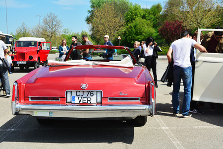 eldorado: CLUJ-NAPOCA, ROMANIA - APRIL 16, 2016: Cadillac Eldorado convertible 1976 on display at the 2016 Retro Spring Parade.