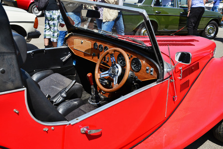 exempt: CLUJ-NAPOCA, ROMANIA - APRIL 16, 2016: 1973 interior of Spartan Roadster (Triumph derived) on display at the 2016 Retro Spring Parade.