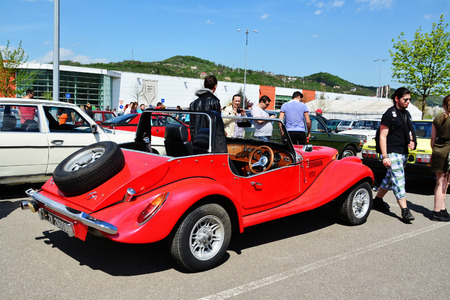 roadster: CLUJ-NAPOCA, ROMANIA - APRIL 16, 2016: 1973 Spartan Roadster (Triumph derived) on display at the 2016 Retro Spring Parade.