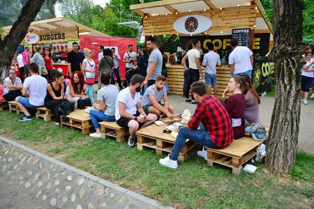 CLUJ-NAPOCA, ROEMENIË - 9 juli 2016: Mensen hebben een snack in the Street Food Festival in central park Cluj. Verkopers in kraampjes lekkere fast food uit verschillende culturen. Stockfoto - 59323057