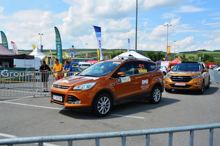 CLUJ-NAPOCA, ROMANIA - JULY 23, 2016: Staff and security drive Ford Edge cars at the Transylvania Rally National Championship - Dunlop 2016.