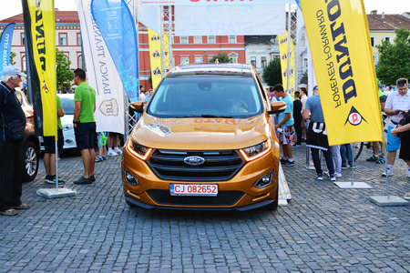 stays: CLUJ-NAPOCA, ROMANIA - JULY 21, 2016: Ford Edge 2016 Sport stays at the start line at the opening ceremony of the Transylvania Rally National Championship