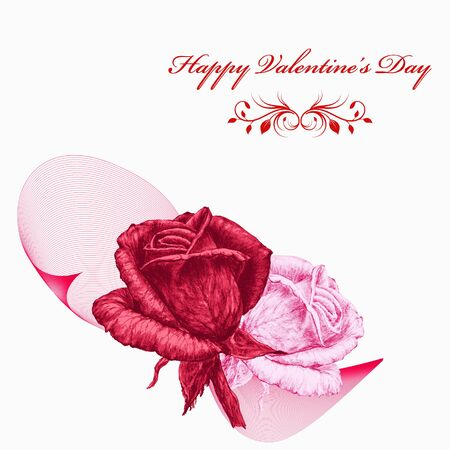 Valentines card with red and pink roses over white background. Pencil drawing