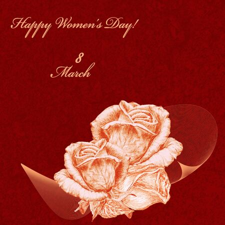 orange roses: International Womens Day celebrated on March 8, greeting card. Orange roses on red textured background. In some countries this holiday coincides with Mothers Day. Stock Photo