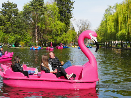 CLUJ-NAPOCA, ROMANIA - APRIL 17, 2017: Families spend quality time on pleasure boats on the lake in central park. People pedal swan boats and dragon pedal boats.