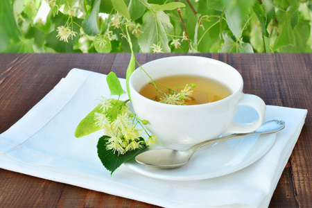 lime blossom: Cup of refreshing linden tea over wooden table under the shadow of a linden tree. Stock Photo