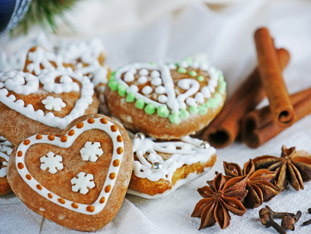Gingerbread cookies, homemade Christmas biscuits with cinnamon, star anise and cloves