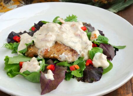 Sour cream pork chops served on a bed of greens drizzled with sauce Standard-Bild