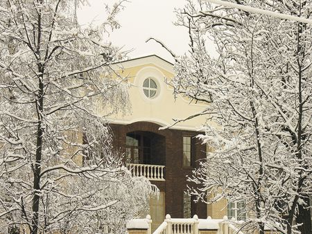 Close up of a private residence after a snowfall Stock Photo